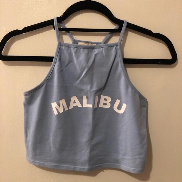 "Cropped blue ""Malibu"" tank top - PacSun"